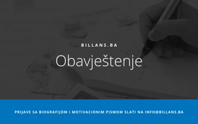 Obavještenje za korisnike Billans e-računovodstva